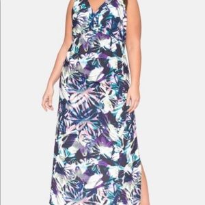 ELOQUII maxi dress open back floral ombré- size 18